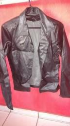 Jaqueta de couro sintético esporte fino feminina