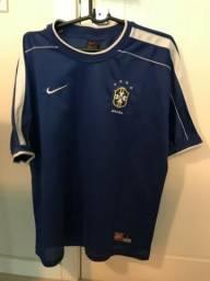 Camiseta Seleção Brasileira Oficial Azul Nike 1998 2ed0843db0e8b
