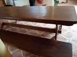 Mesa madeira peroba rosa com tampo em madeira única toda travada