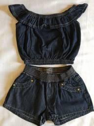 Conjunto jeans ciganinha infantil menina Mauá