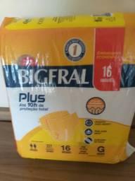 Fralda diurna BIGFRAL, incontinência severa, tamanho G, pacote com 16 unidades