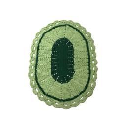 Tapete oval de crochê 62cm verde