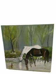 Lindo quadro de dois cavalos sobre tela