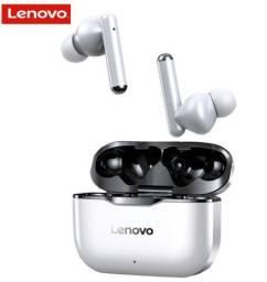 Fone de ouvido In-ear sem fio Lenovo LP1 branco e preto