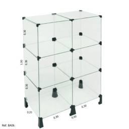 Balcão modulado expositor de vidro