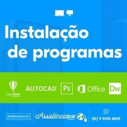 Instalação de programas, Pacote Office, CorelDRAW, Photoshop e outros