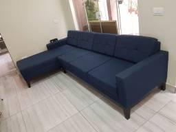 Sofá de Linho Azul 3 Lugares + Chaise