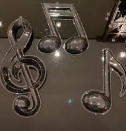 Kit 6 Cachepôs para Bexiga + 3 Letras Musicais Decorativas