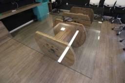 Mesa de Reunião em Vidro / Madeira Maciça Transparente / Marrom 74 cm x 240 cm x 150 cm