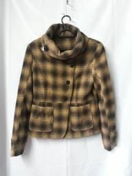 *** Casaco de lã xadrez marrom - R$ 25,00 ***