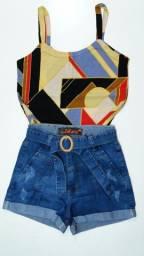 Regata viscolycra tamanho P + short jeans Pakazzy 40 (forma pequena)
