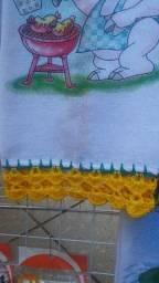 Panos de Copas com Barra de Crochê