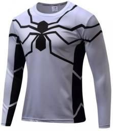 Camiseta Homem Aranha Branca Manga Longa
