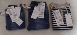 Calça jeans infantil Hering kids Tam 1 e 2 e macacão algodão 50% desconto