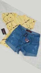 Blusa t shirts estampada tamanho M + short jeans Pakazzy tam 42