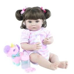 Boneca bebê Reborn Menina toda de Silicone com lindo ursinho a pronta entrega