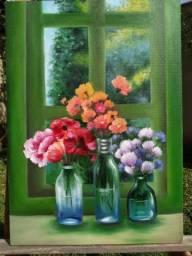 Tela a óleo, flores na janela.
