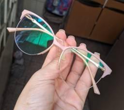 Óculos Rose com Par de Lentes AntiBlue+Antirreflexo+ProteçãoUV400 - Sem Grau (Descanso)
