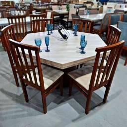 Mesa sextavada c/ 6 cadeiras em madeira maciça (Eucalipto tratado)