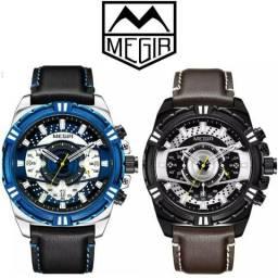Relógio MEGIR® 100%original com ponteiros todos funcionais na caixa