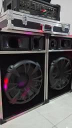 Caixas e Amplificador de Som