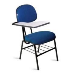 Cadeira Universitária Secretária Tecido Azul Com Preto