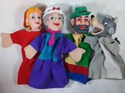Brinquedo bonecos fantoches chapeuzinho vermelho vovó lobo caçador