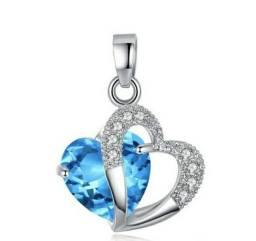Colar Coração Duplo Banhado a Prata e Pingente Azul