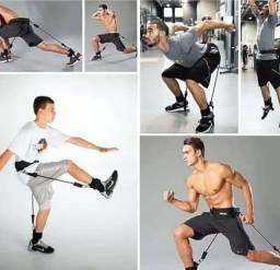 Cinta e elastico para treino corrida, agachamento.....