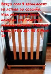 Quarto bebê completo 15 meses de uso Allegrini baby grafite e madeira natural