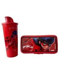 Título do anúncio: Kit Tupperware infantil - lancheira retangular + copo bico 470 ml