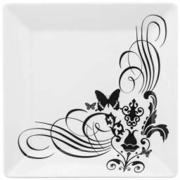 Prato Quadrado Raso Porcelana Oxford - 15 Unids