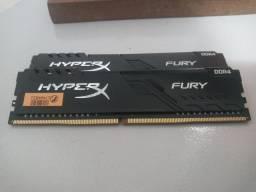 2 memórias HyperX Fury - DDR4 4gb 2666mhz - venda somente do par!!!