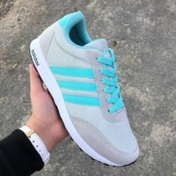 Tênis Adidas Cinza com Azul claro novo
