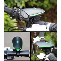 Farol Bike Com Buzina Lanterna Fy-058 Recarregável Usb