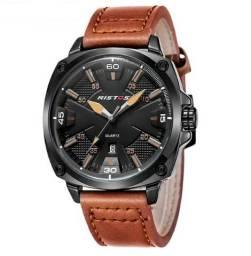 Lindo Relógio de Couro Esportivo Ristos Com Marcação de Data 100% Novo e Original