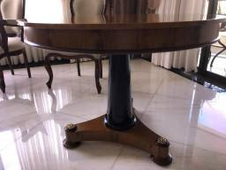 """Mesa redonda em madeira nobre """"ebano"""""""