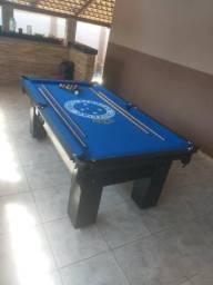 Mesa 2,20 x 1,20 Cor Preta Tecido Azul Logo Cruzeiro Mod. YGSY8289