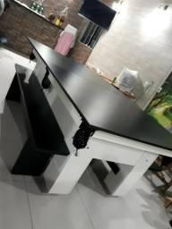Mesa de Sinuca e Jantar Cor Branca Tecido Preto Logo Corinthians Mod. EUNV1384