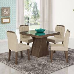Conjunto de Mesa Olivia com 4 Cadeiras Elisa Savana - Vidro Preto - Queima de Estoque