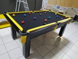 Mesa de Sinuca Tabaco Campo de jogo em Mdf Redinhas Amarelas Tecido Preto