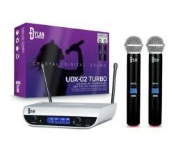Microfone Duplo Sem Fio Dylan Modelo Udx 02 Turbo