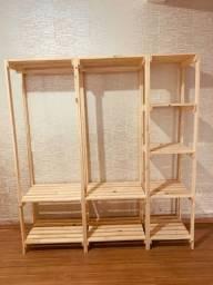 Arara closet madeira pinus (caixotes opcional)