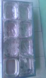 Rechaud inox para selfservice conjunto para 16 cubas novo