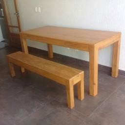 conjunto de mesa em madeira de demolição peroba rosa