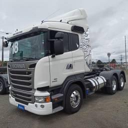 Scania R 440, 6x2, Branco, 2018. Rodas de alumínio, retarder, baixo km. R4G77