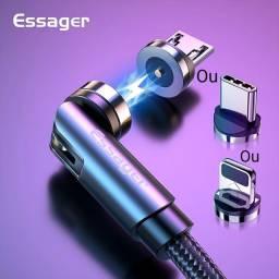 Cabo USB Magnético 540° de Rotatividade 3.1A 1MT NOVOS+1Plug  ESSAGER.