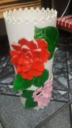 Linda luminária artesanal flor rosa decorativa