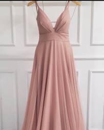 Vestido de festa rosa golde com brilho