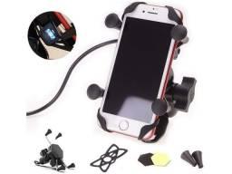 Suporte Para Moto Celular GPS Carregador USB Aplicativo Ifood
